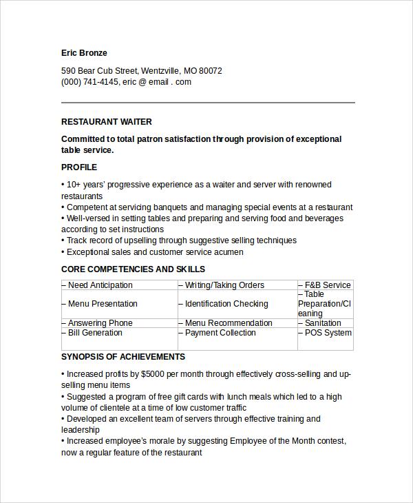 waiter resume template word