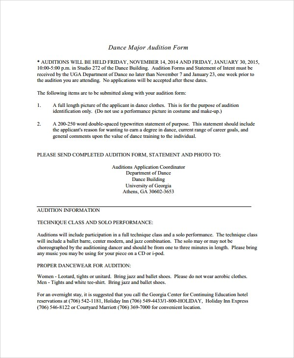 Sample Audition Form  7 Documents in PDF Word