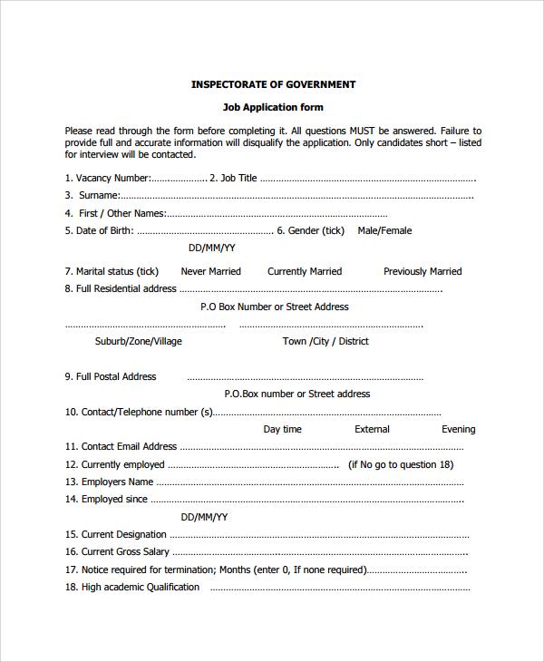 generic job application