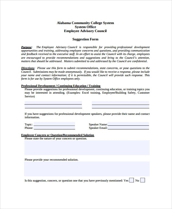 employee contact form template elegant word employee suggestion