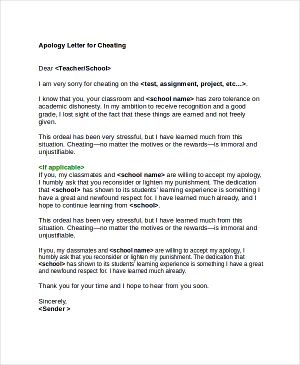 25 Sample Apology Letters Word PDF Pages