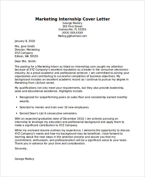 cover letter sample for internships