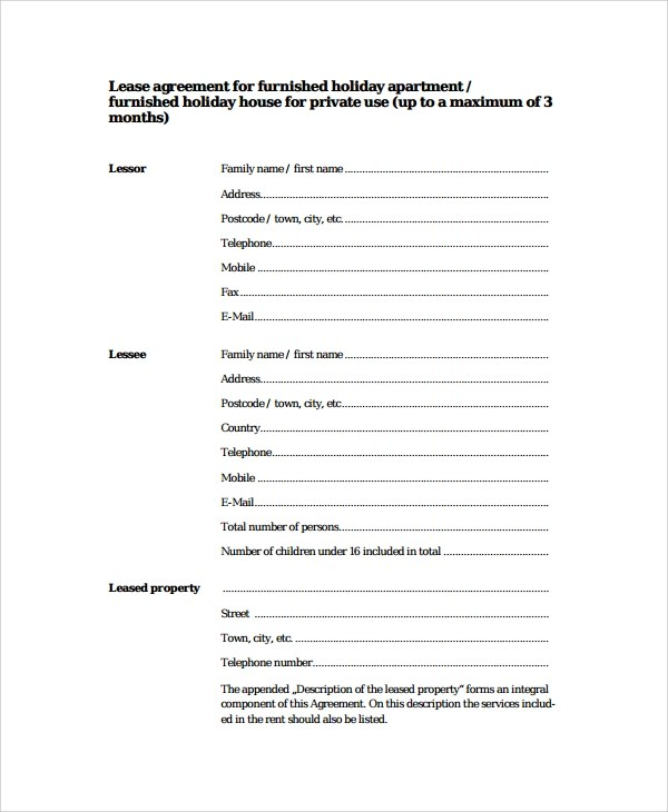 8+ Apartment Lease Agreement Samples, Examples, Templates | Sample ...