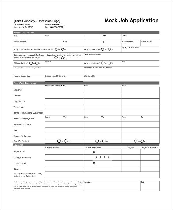 Job Application Online >> Blank Job Applications Forms Free Resume Builder