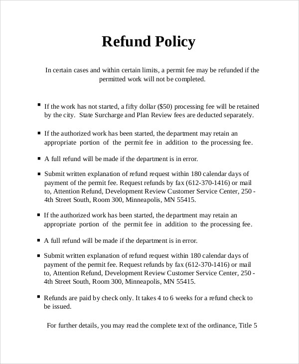 9+ Sample Refund Policy Templates  Sample Templates