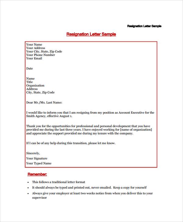 19+ Sample Resignation Letters | Sample Templates