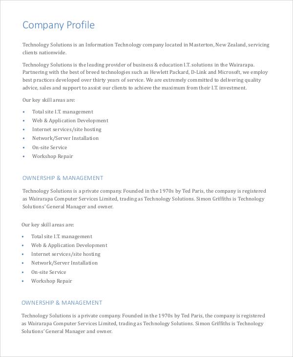 Company Profile Sample Construction Companies   Free Document Resume