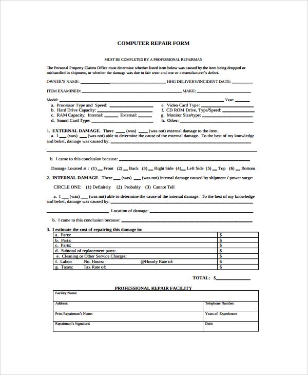 9+ Sample Repair Forms | Sample Templates
