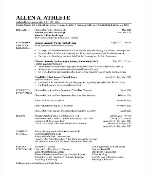 resume examples for athletes