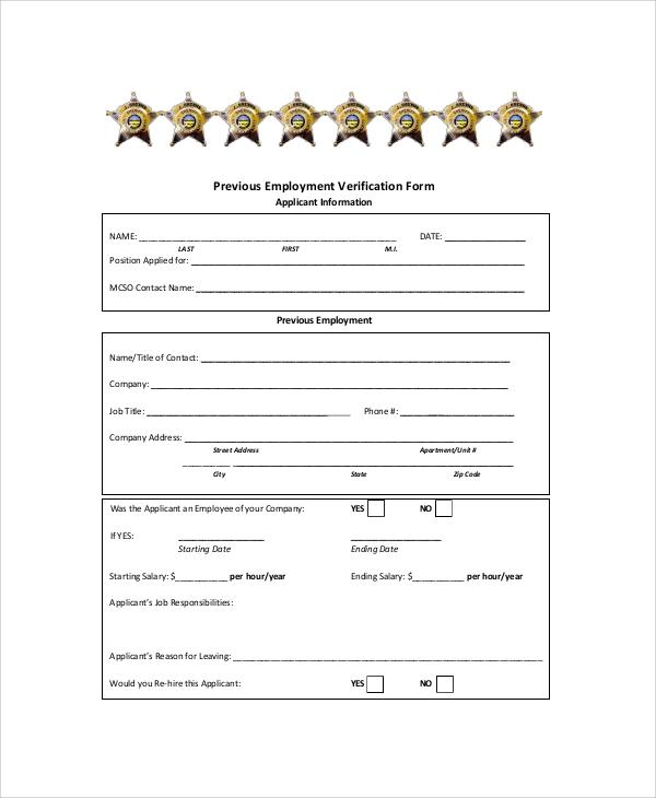 previous employment verification form template