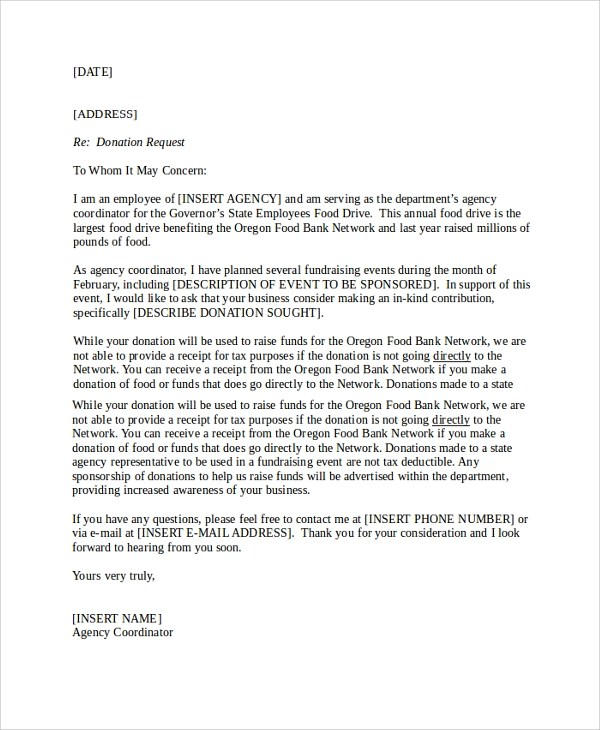 Food pantry donation request letter textpoems sample donation request letter 7 doents in pdf word thecheapjerseys Images