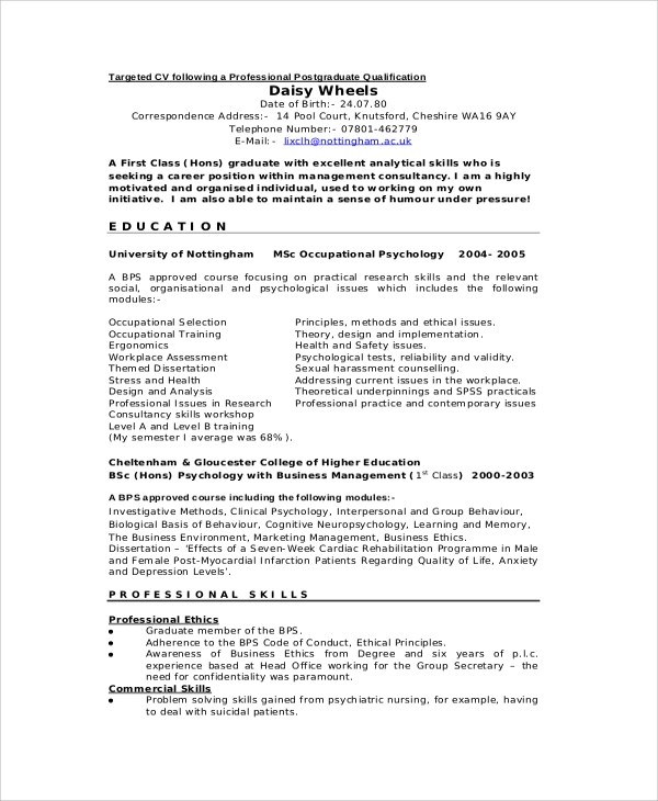 Sample Professional CV  7 Documents in PDF Word