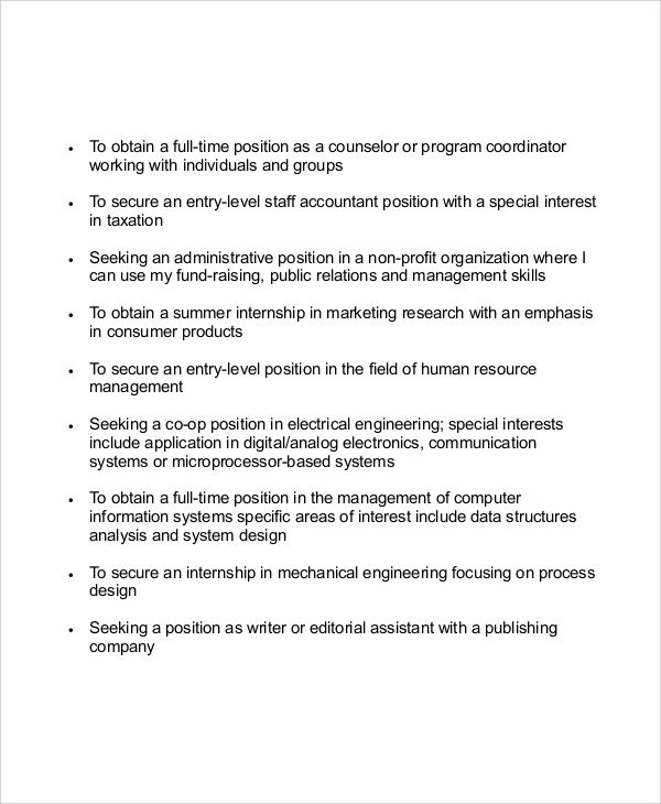 resume career objective for experienced