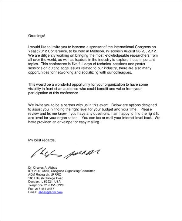 Sample Sponsorship Request Letter 6 Documents In PDF