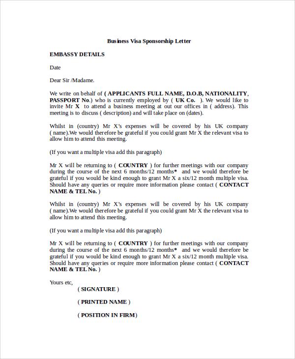 Immigration Sponsorship Letter  Template