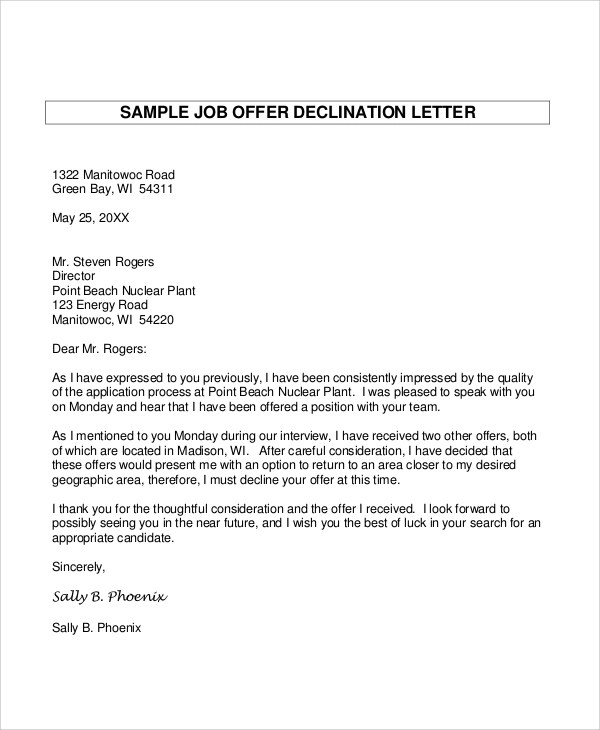 Sample Letter Of Refusing A Job Offer  Docoments Ojazlink