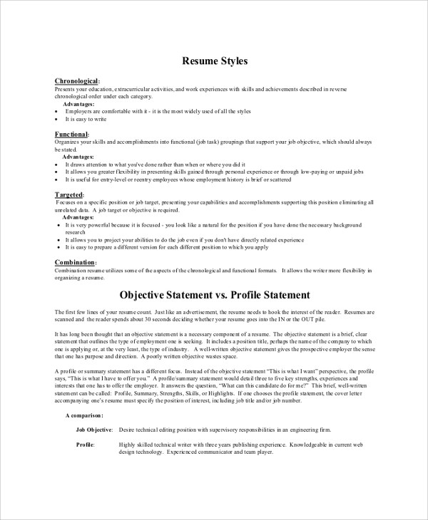8 Sample Resume Objective Statements Sample Templates