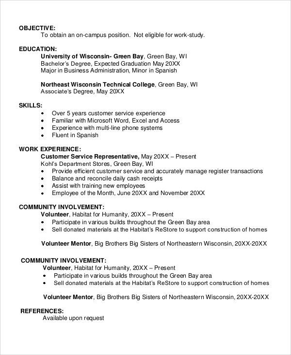 7 Sample Resume Objectives Sample Templates