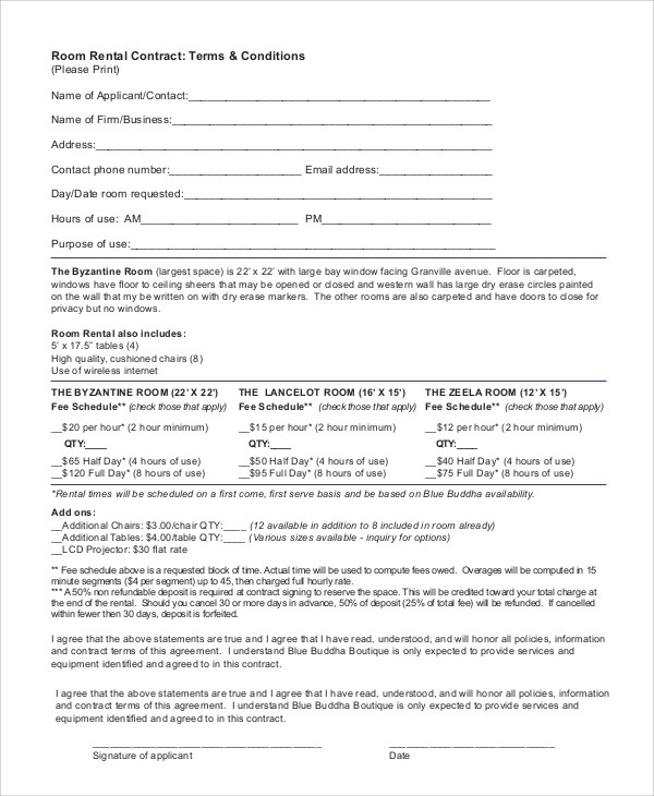 Sample Room Rental Contract  6 Documents in PDF