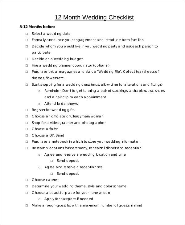 7+ Sample Wedding Checklists   Sample Templates