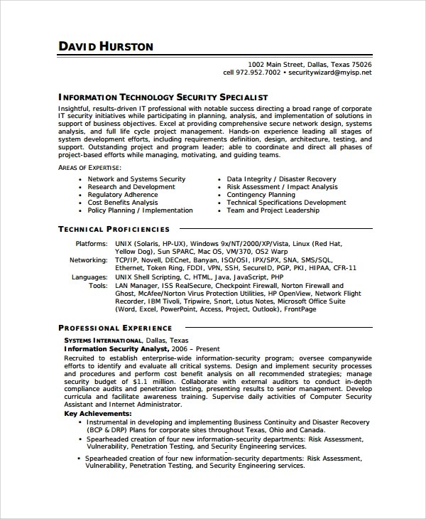 8 Sample Information Security Analyst Resumes Sample
