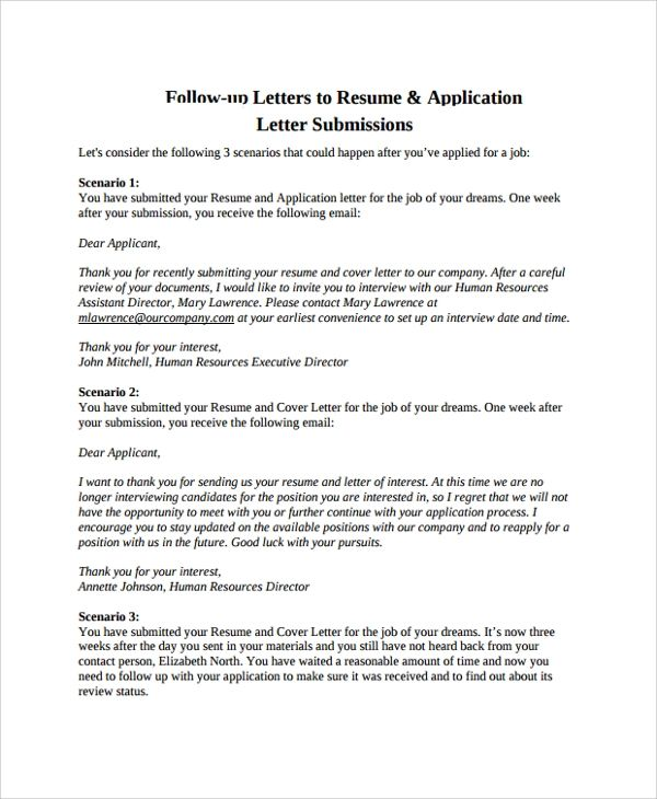 resume follow up letter templates