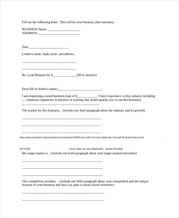 Cover Letter Loan Assistant