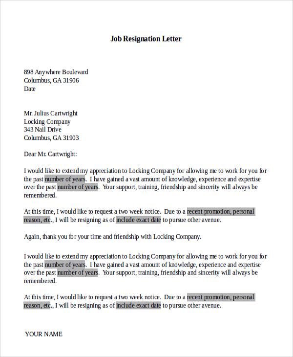 7+ Basic Resignation Letter Samples | Sample Templates