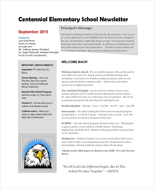 Sample School Newsletter 14 Documents in PDF Word PSD