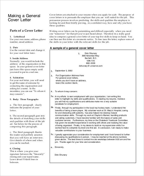 Generic Resume Cover Letter