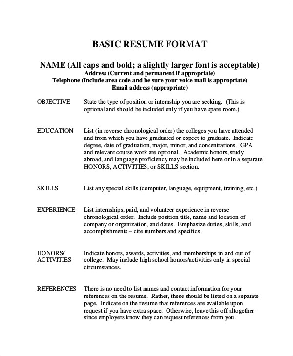 8 Basic Resume Samples Examples Templates Sample