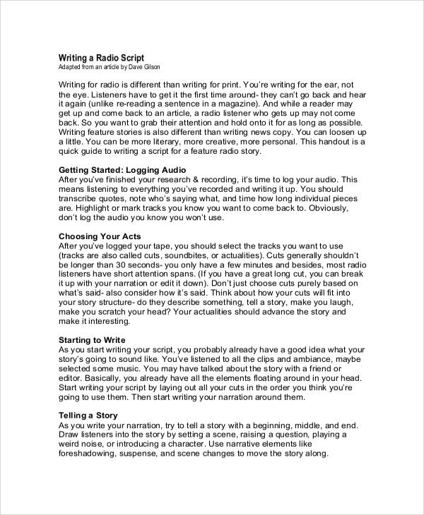 resume script sample