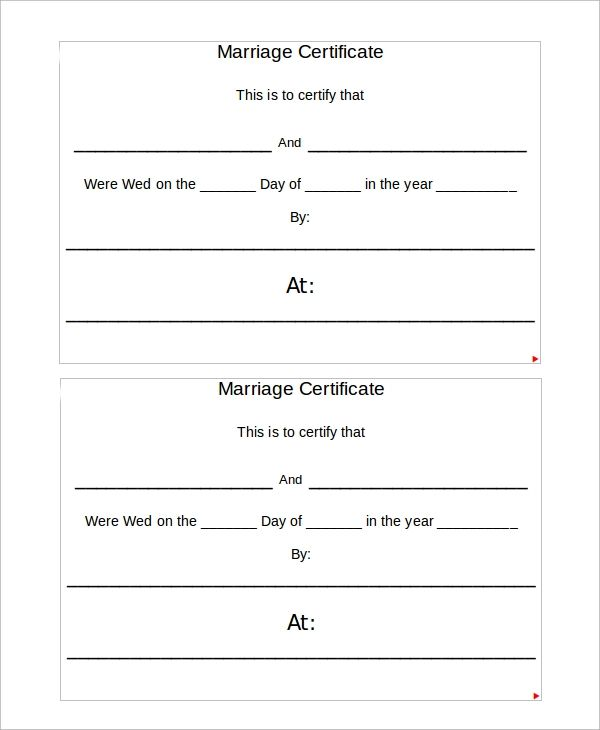 blank marriage certificates