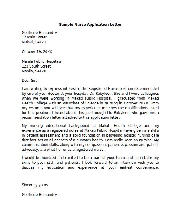 Application Letter For Nursing Lecturer