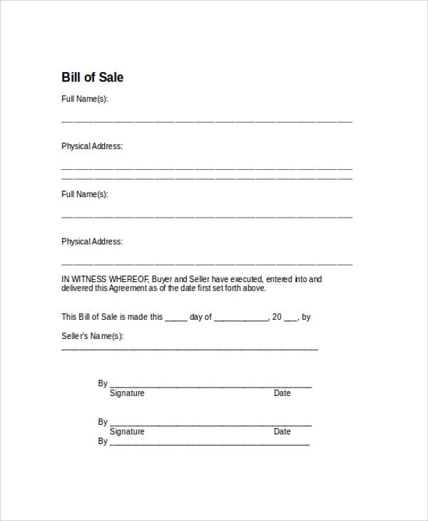 simple bill of sale automobile