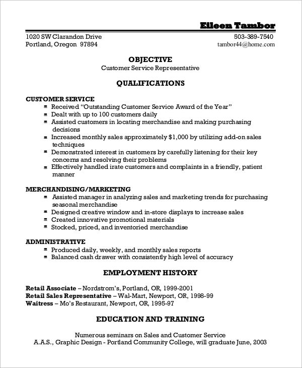 resume seeking customer service position