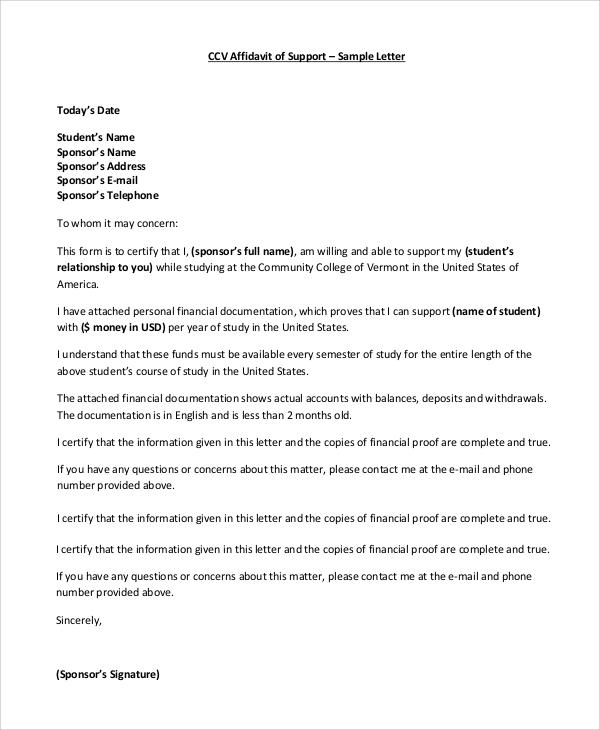 Affidavit Sample Letter  Docoments Ojazlink