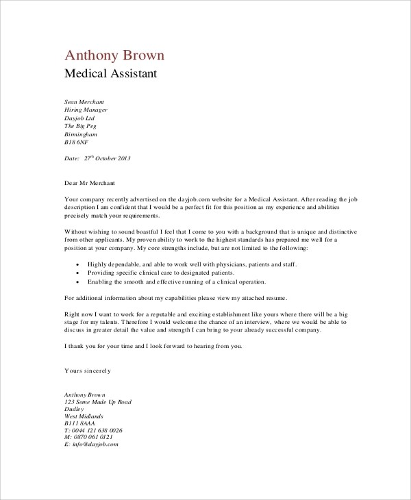 9 Cover Letter Samples  Sample Templates