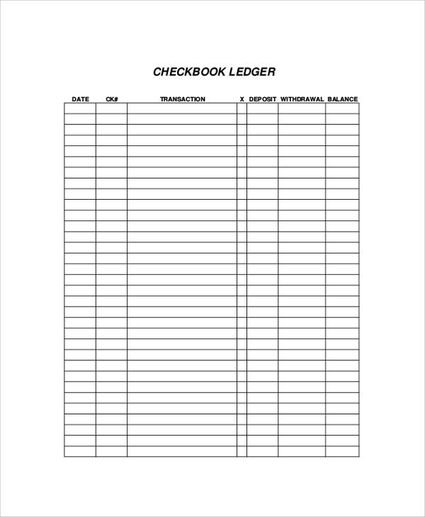 Printable Checkbook Register Sheets