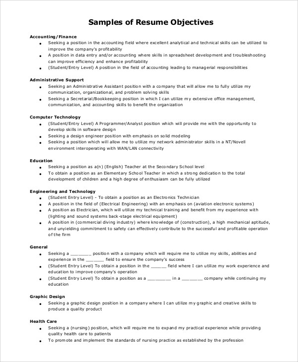 8 Sample Objectives For Resumes Sample Templates