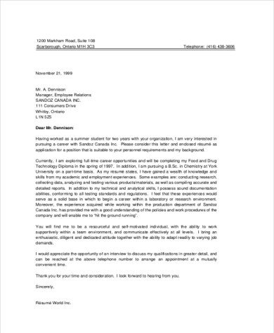 Cover Letter Examples For Student - Cover Letter Templates