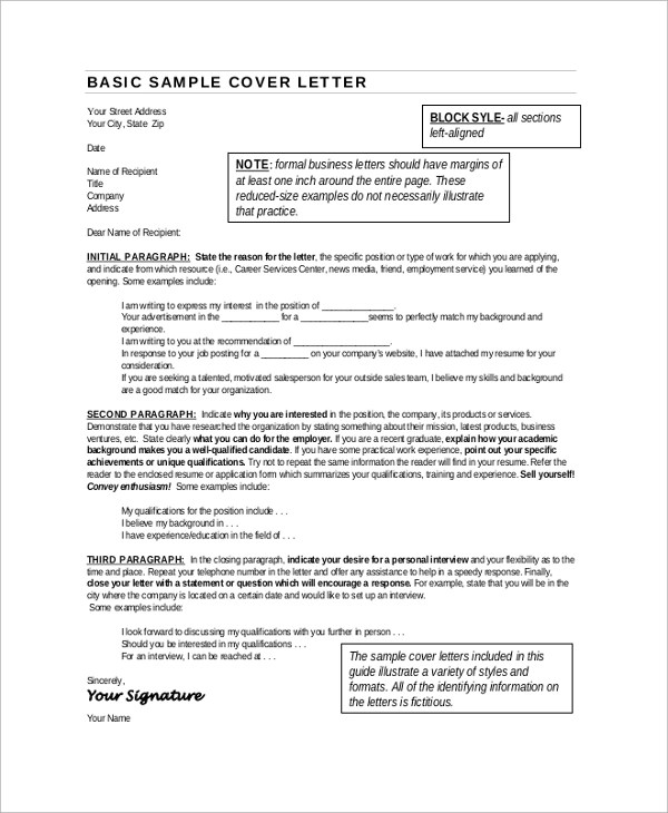 9 Sample Cover Letter For Resumes Sample Templates