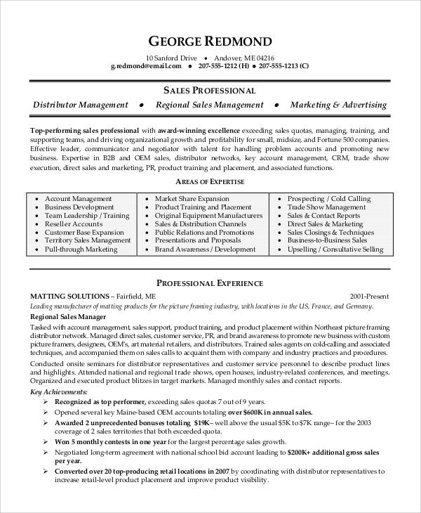 Sales Professional Resume Profile | Best Collection Rooms Chairs