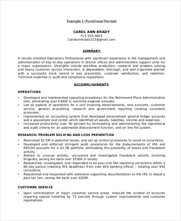 sample of functional resume letter