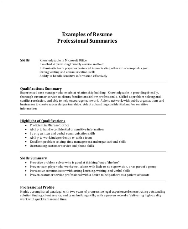 Examples Of Summary For Resume