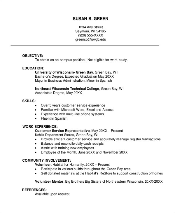 8 Sample Resume Layouts Sample Templates