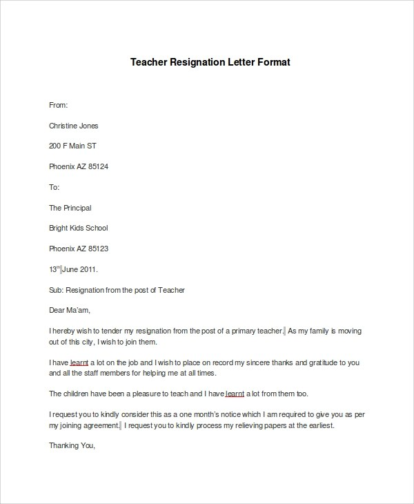 7 Resignation Letter Samples Examples Templates