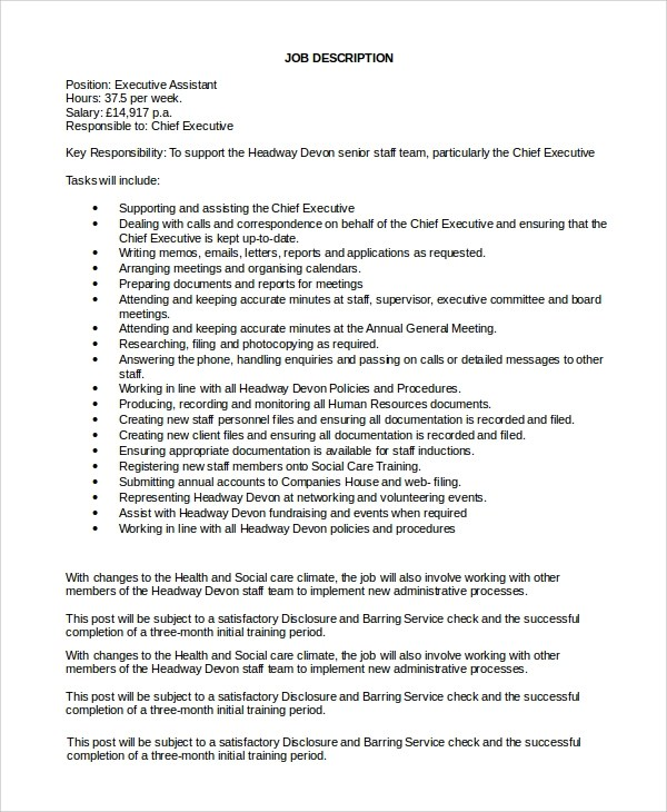 8 Executive Assistant Job Description Samples Sample