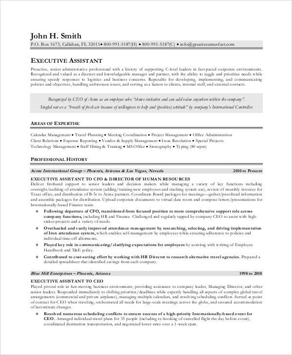 resume ideas for executive assistant
