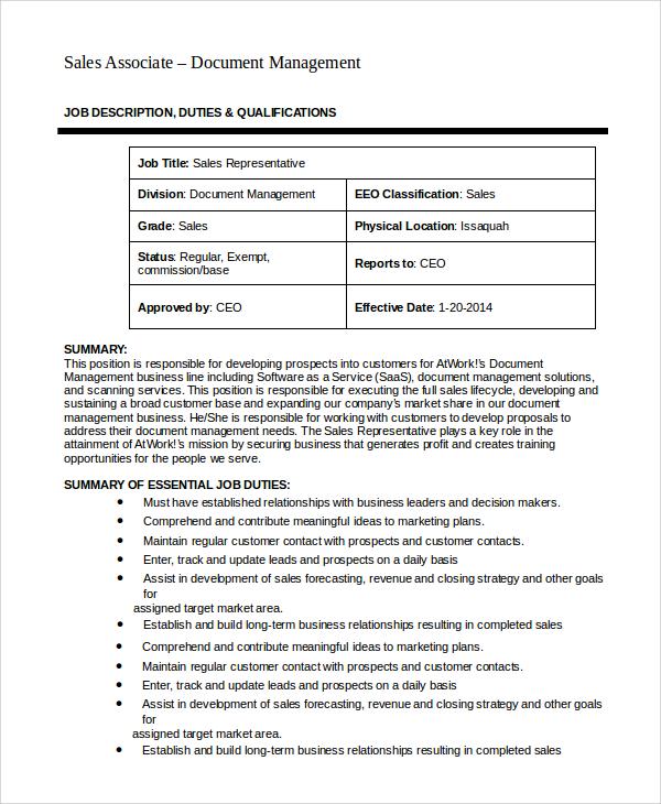 sales associate job duties